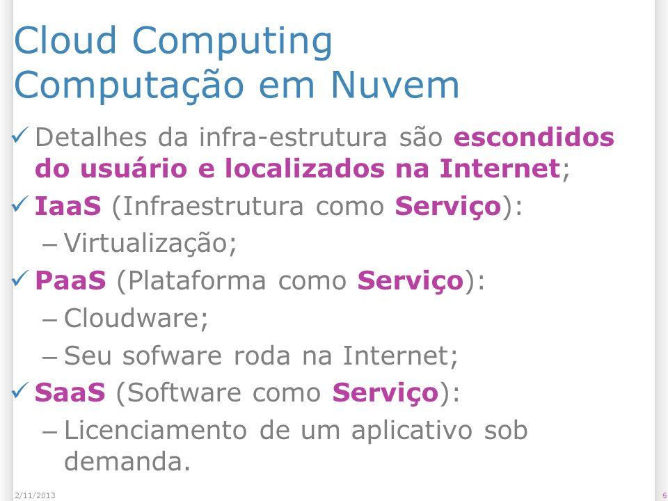 Cloud Computing Computação em Nuvem Detalhes da infra-estrutura são escondidos do usuário e localizados na Internet; IaaS (Infraestrutura como Serviço