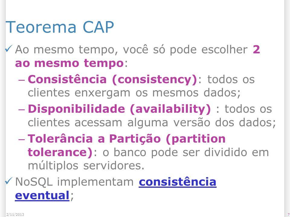 Teorema CAP Ao mesmo tempo, você só pode escolher 2 ao mesmo tempo: – Consistência (consistency): todos os clientes enxergam os mesmos dados; – Dispon