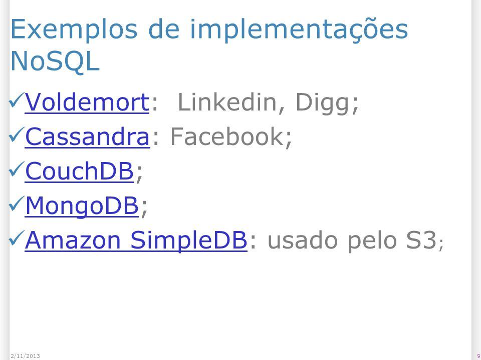 Exemplos de implementações NoSQL Voldemort: Linkedin, Digg; Voldemort Cassandra: Facebook; Cassandra CouchDB; CouchDB MongoDB; MongoDB Amazon SimpleDB