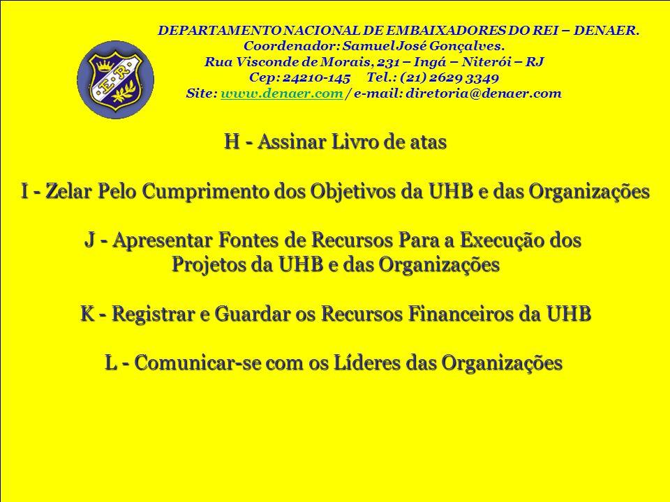 H - Assinar Livro de atas I - Zelar Pelo Cumprimento dos Objetivos da UHB e das Organizações J - Apresentar Fontes de Recursos Para a Execução dos Pro