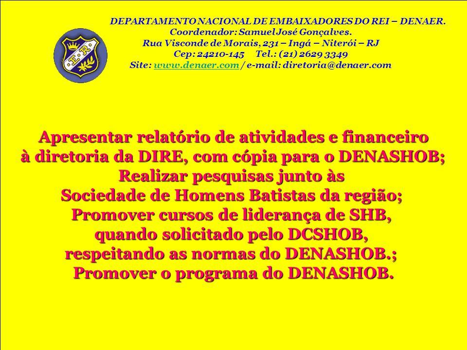 Apresentar relatório de atividades e financeiro à diretoria da DIRE, com cópia para o DENASHOB; à diretoria da DIRE, com cópia para o DENASHOB; Realiz