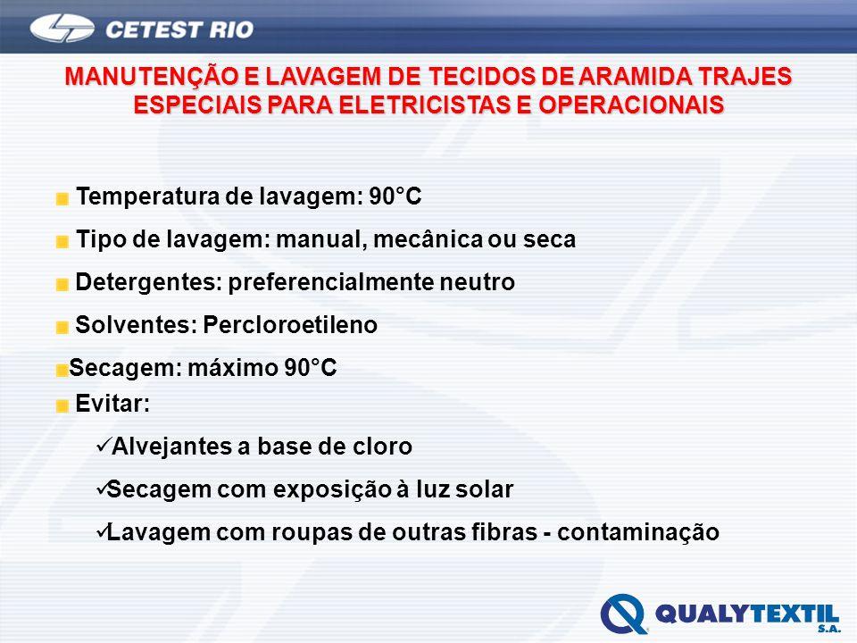 MANUTENÇÃO E LAVAGEM DE TECIDOS DE ARAMIDA TRAJES ESPECIAIS PARA ELETRICISTAS E OPERACIONAIS Temperatura de lavagem: 90°C Tipo de lavagem: manual, mec