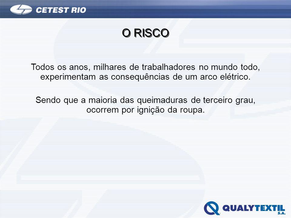 O RISCO Todos os anos, milhares de trabalhadores no mundo todo, experimentam as consequências de um arco elétrico. Sendo que a maioria das queimaduras