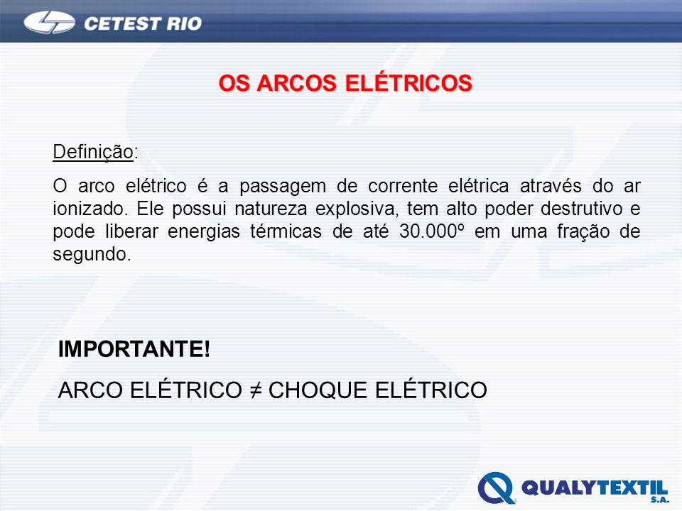 OS ARCOS ELÉTRICOS Definição: O arco elétrico é a passagem de corrente elétrica através do ar ionizado. Ele possui natureza explosiva, tem alto poder