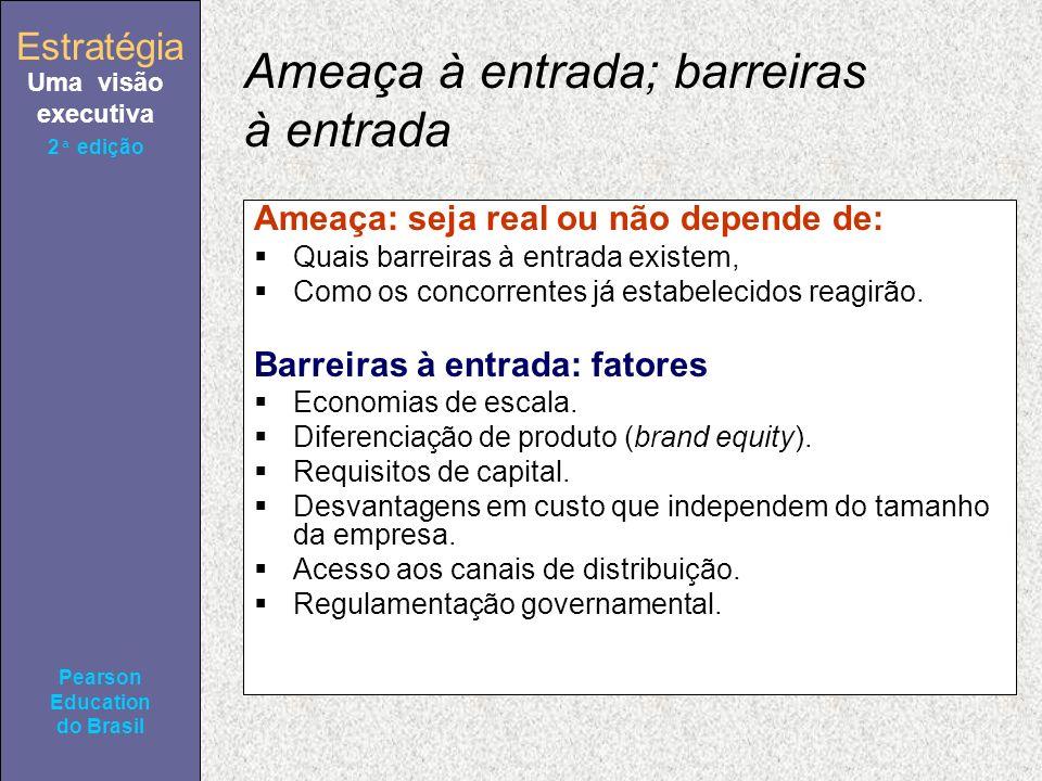 Estratégia Uma visão executiva Pearson Education do Brasil Estratégia Uma visão executiva Pearson Education do Brasil 2ª edição Ameaça à entrada; barr