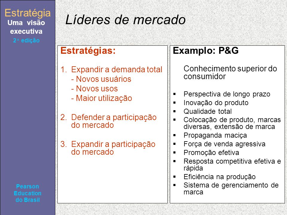 Estratégia Uma visão executiva Pearson Education do Brasil Estratégia Uma visão executiva Pearson Education do Brasil 2ª edição Líderes de mercado Est