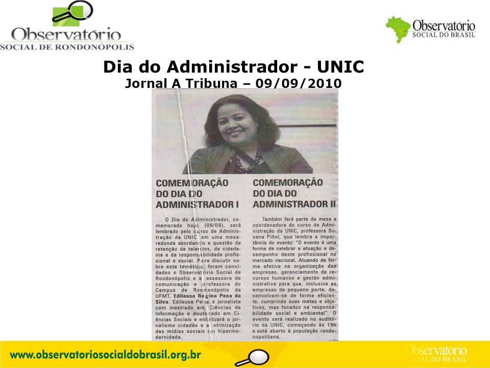 Logo do OS Dia do Administrador - UNIC Jornal A Tribuna – 09/09/2010
