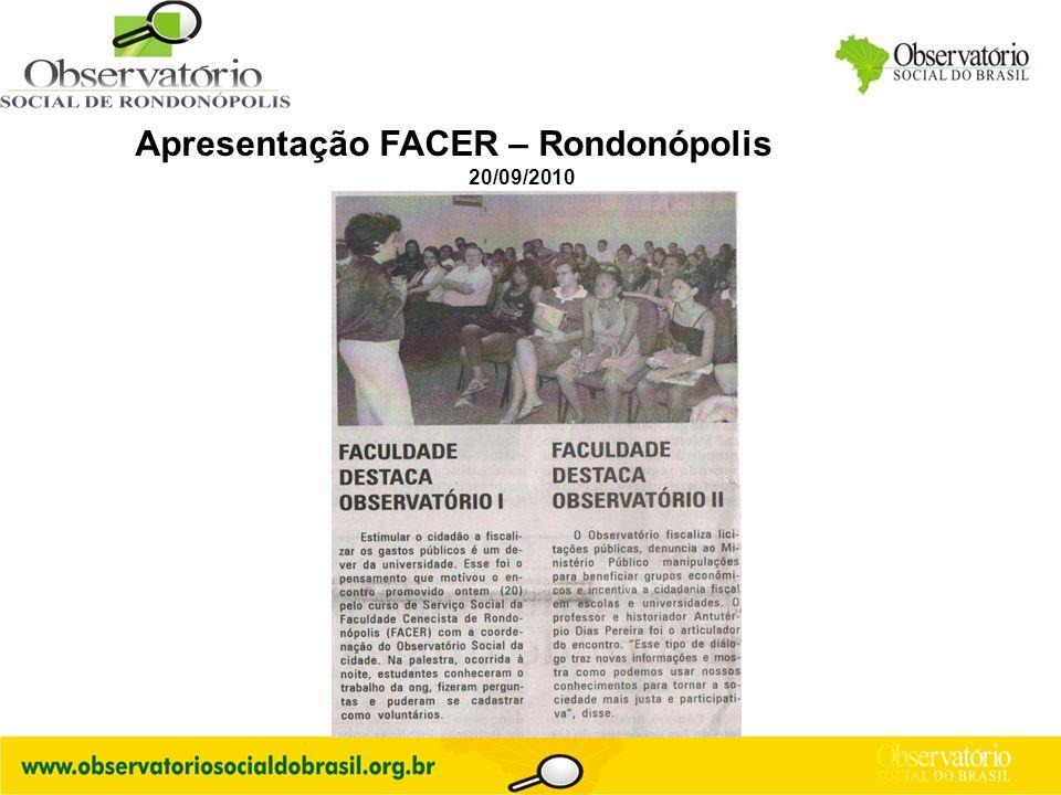Logo do OS Apresentação FACER – Rondonópolis 20/09/2010