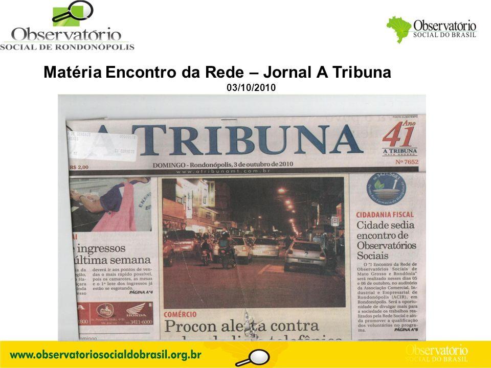 Logo do OS Matéria Encontro da Rede – Jornal A Tribuna 03/10/2010