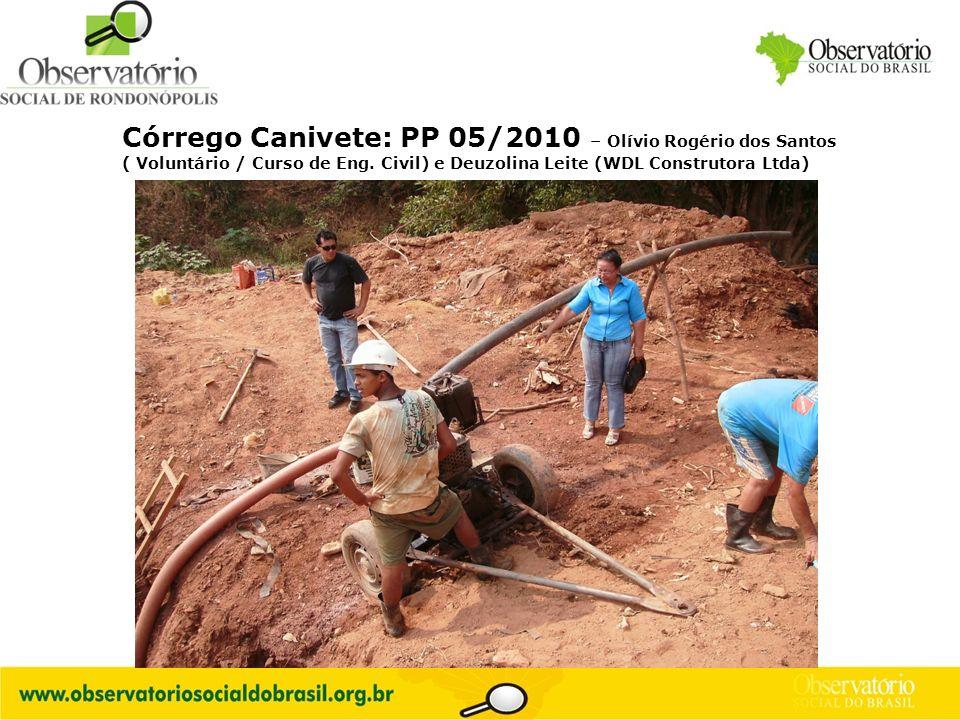 Logo do OS Córrego Canivete: PP 05/2010 – Olívio Rogério dos Santos ( Voluntário / Curso de Eng. Civil) e Deuzolina Leite (WDL Construtora Ltda)