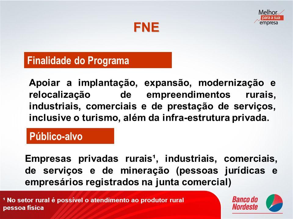 FNE Apoiar a implantação, expansão, modernização e relocalização de empreendimentos rurais, industriais, comerciais e de prestação de serviços, inclus