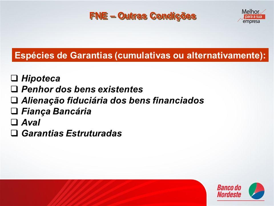 Hipoteca Penhor dos bens existentes Alienação fiduciária dos bens financiados Fiança Bancária Aval Garantias Estruturadas FNE – Outras Condições Espéc