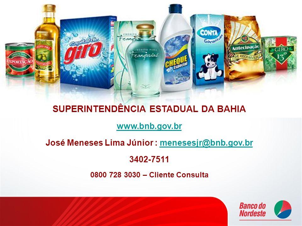 SUPERINTENDÊNCIA ESTADUAL DA BAHIA www.bnb.gov.br José Meneses Lima Júnior : menesesjr@bnb.gov.brmenesesjr@bnb.gov.br 3402-7511 0800 728 3030 – Client