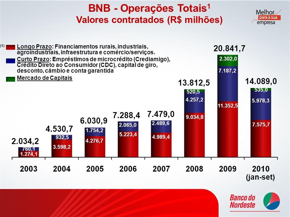 2.034,2 4.530,7 6.030,9 7.288,4 BNB - Operações Totais 1 Valores contratados (R$ milhões) 7.479,0 13.812,5 20.841,7 (1) Longo Prazo: Financiamentos ru
