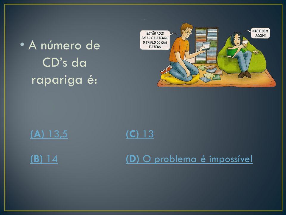 Se x representar o número de CDs da rapariga, equação que traduz o problema é: (A) 3x=54(C) x=3x (B) x+x=54(D) x+3x=54