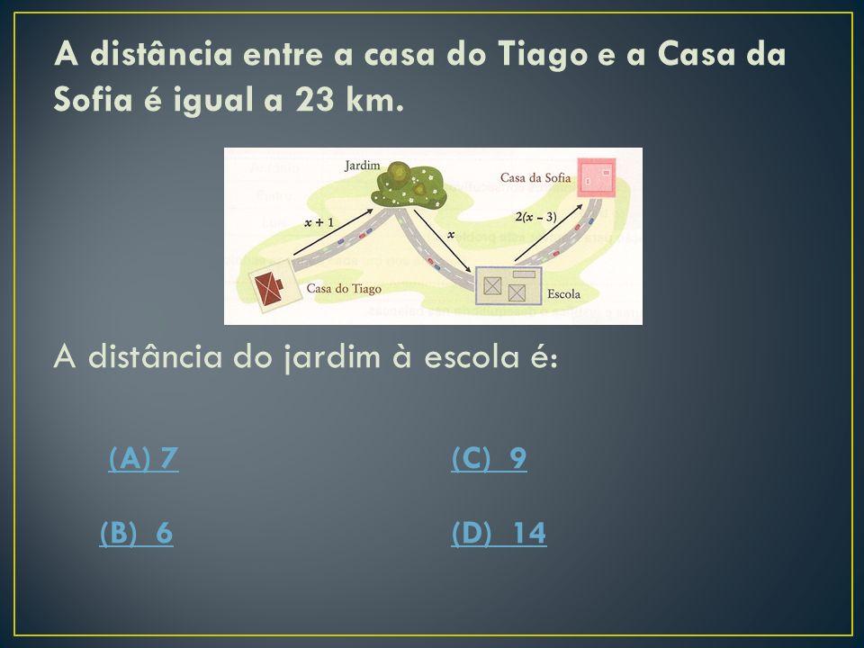 A distância entre a casa do Tiago e a Casa da Sofia é igual a 23 km. A equação que permite determinar a distância do jardim à escola é: (A) x+1+x+2(x-