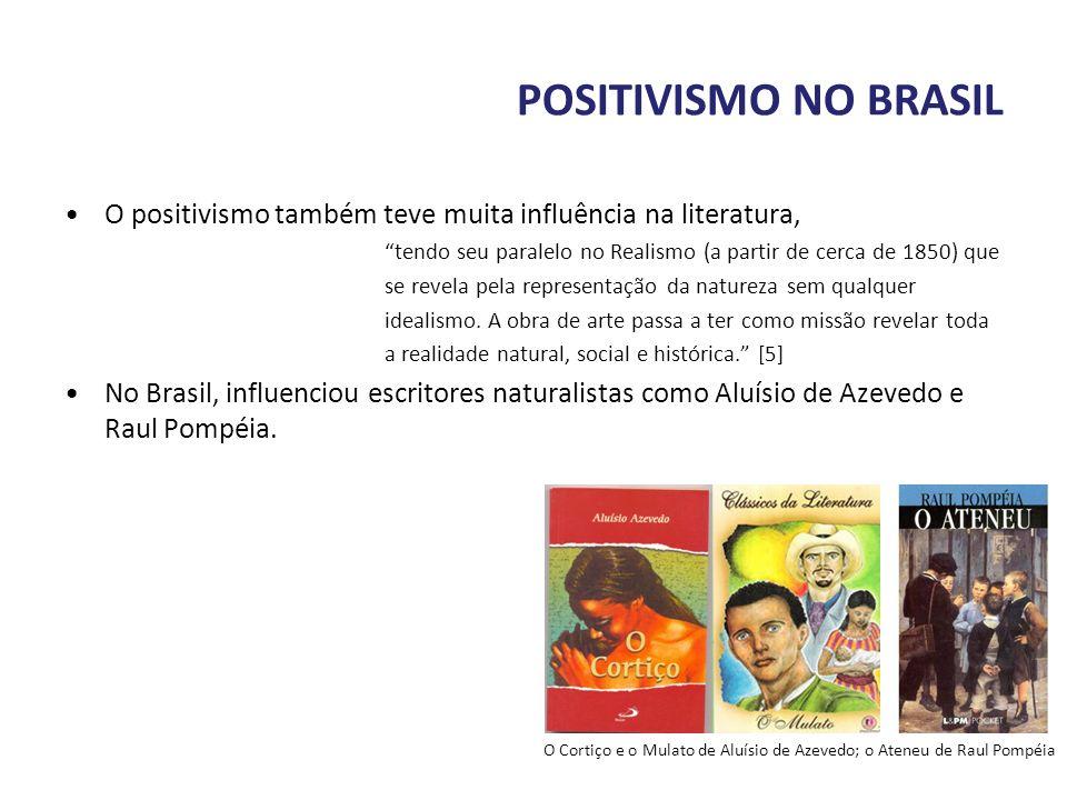POSITIVISMO NO BRASIL O positivismo também teve muita influência na literatura, tendo seu paralelo no Realismo (a partir de cerca de 1850) que se reve