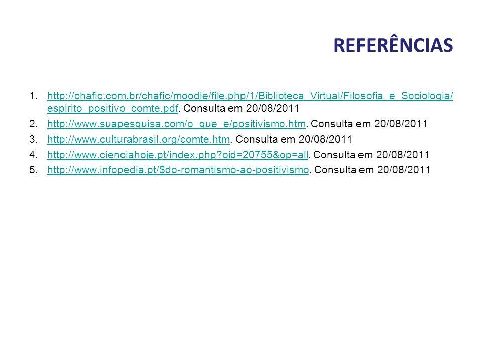 REFERÊNCIAS 1.http://chafic.com.br/chafic/moodle/file.php/1/Biblioteca_Virtual/Filosofia_e_Sociologia/ espirito_positivo_comte.pdf. Consulta em 20/08/