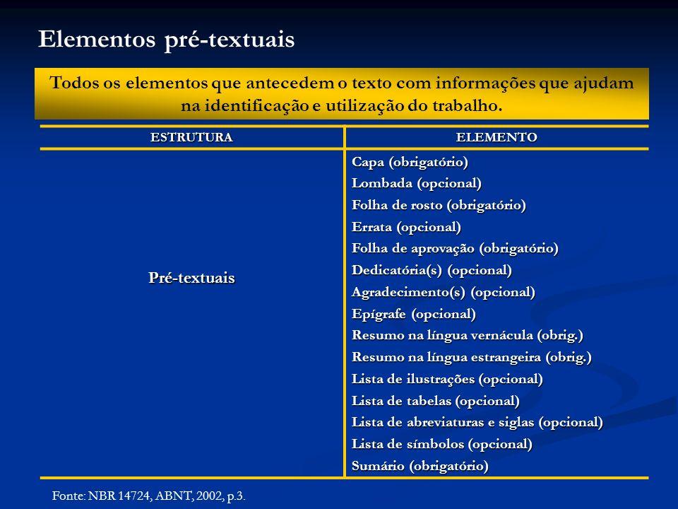 Elementos pré-textuais Todos os elementos que antecedem o texto com informações que ajudam na identificação e utilização do trabalho.ESTRUTURAELEMENTO