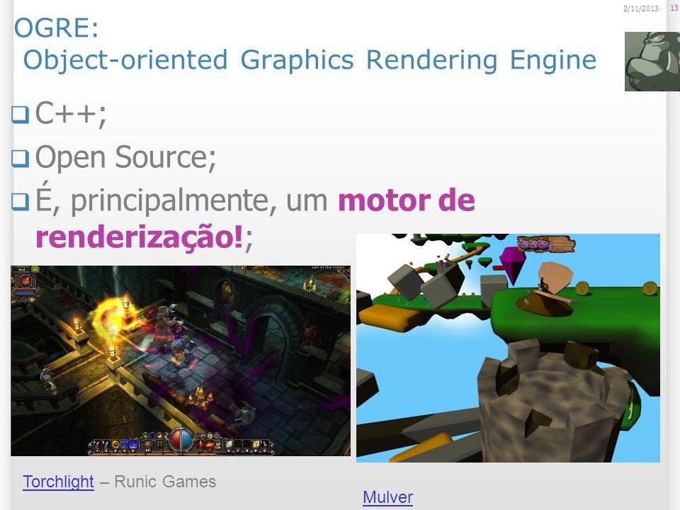 OGRE: Object-oriented Graphics Rendering Engine C++; Open Source; É, principalmente, um motor de renderização!; Grande Comunidade. 13 2/11/2013 Mulver
