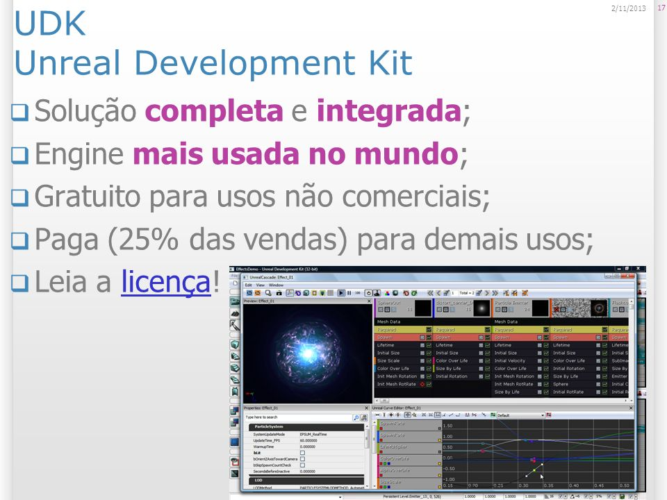 UDK Unreal Development Kit Solução completa e integrada; Engine mais usada no mundo; Gratuito para usos não comerciais; Paga (25% das vendas) para dem