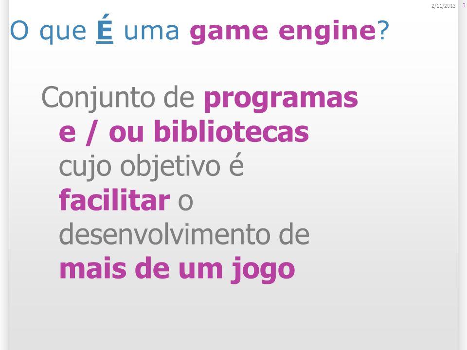O que É uma game engine? 3 2/11/2013 Conjunto de programas e / ou bibliotecas cujo objetivo é facilitar o desenvolvimento de mais de um jogo