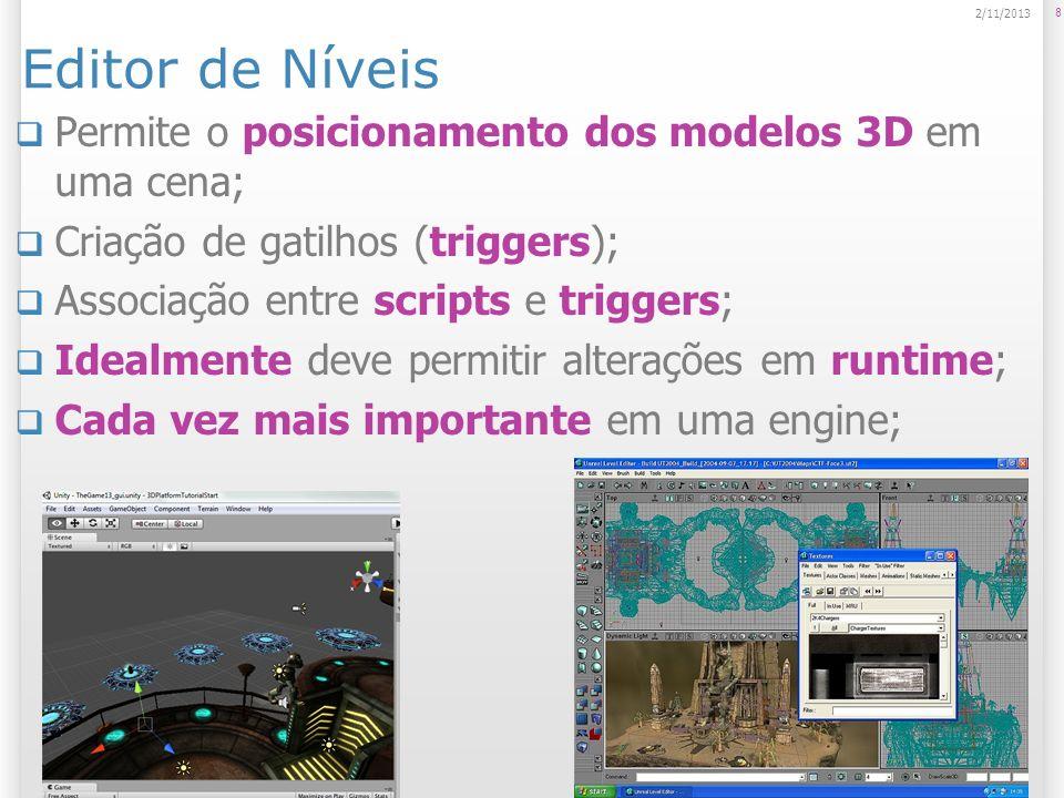 Editor de Níveis Permite o posicionamento dos modelos 3D em uma cena; Criação de gatilhos (triggers); Associação entre scripts e triggers; Idealmente