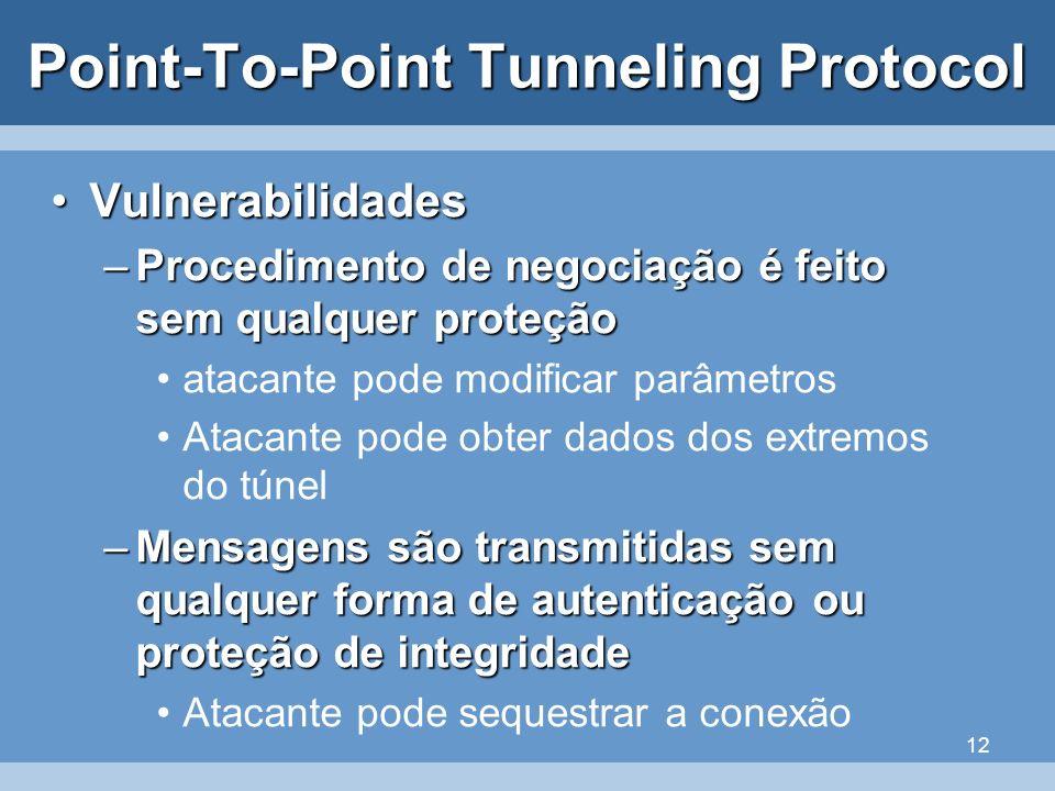 12 Point-To-Point Tunneling Protocol VulnerabilidadesVulnerabilidades –Procedimento de negociação é feito sem qualquer proteção atacante pode modifica