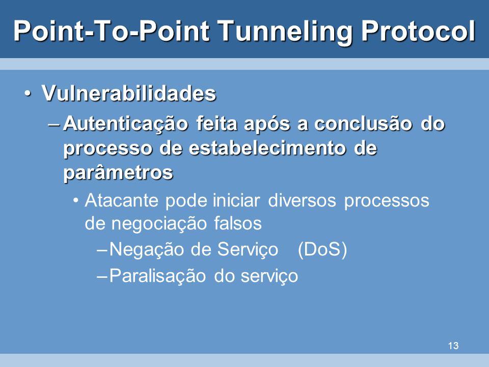 13 Point-To-Point Tunneling Protocol VulnerabilidadesVulnerabilidades –Autenticação feita após a conclusão do processo de estabelecimento de parâmetro