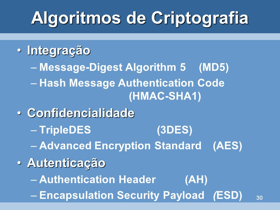 30 Algoritmos de Criptografia IntegraçãoIntegração –Message-Digest Algorithm 5(MD5) –Hash Message Authentication Code (HMAC-SHA1) ConfidencialidadeCon