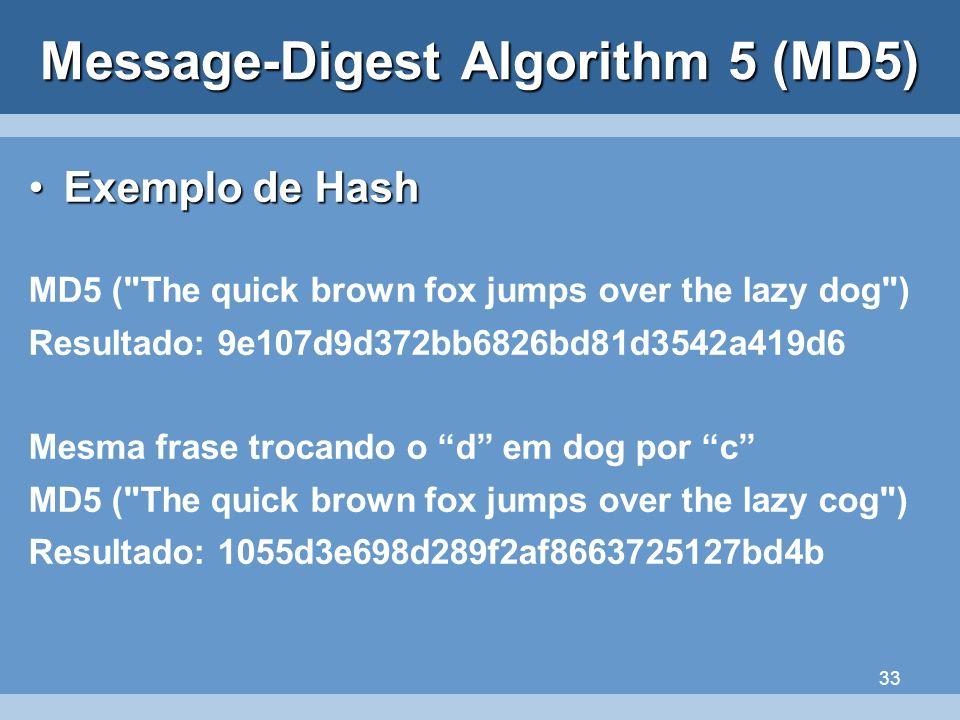33 Message-Digest Algorithm 5 (MD5) Exemplo de HashExemplo de Hash MD5 (
