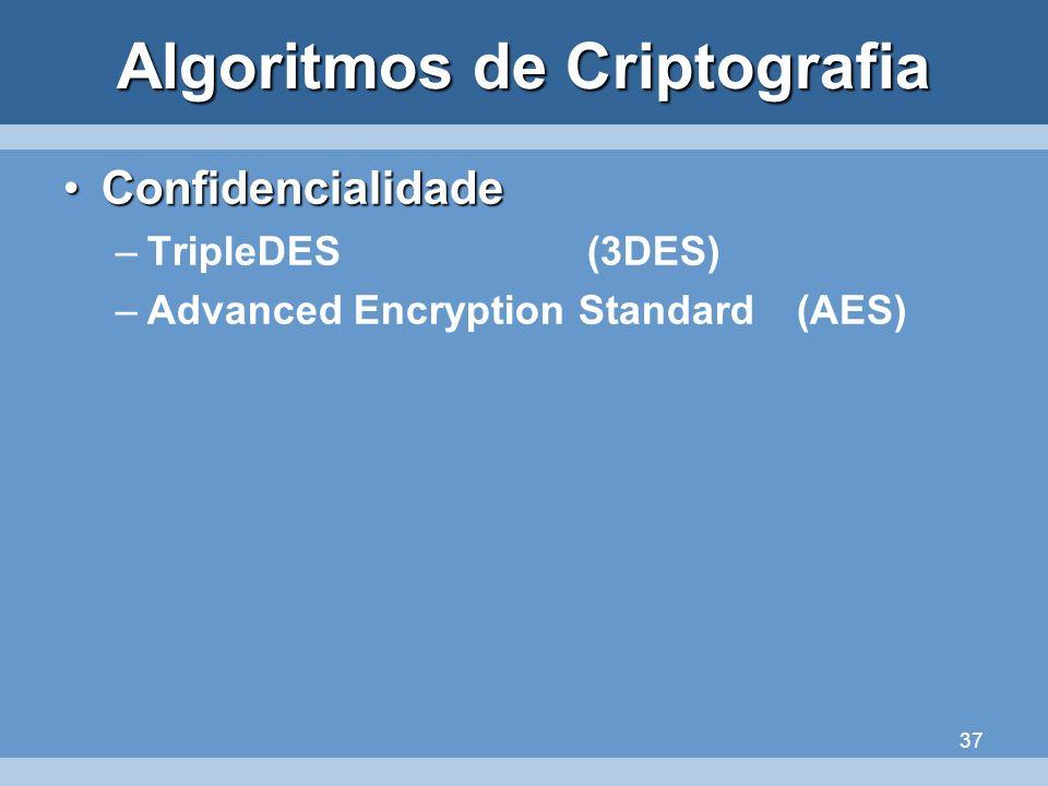 37 Algoritmos de Criptografia ConfidencialidadeConfidencialidade –TripleDES (3DES) –Advanced Encryption Standard(AES)
