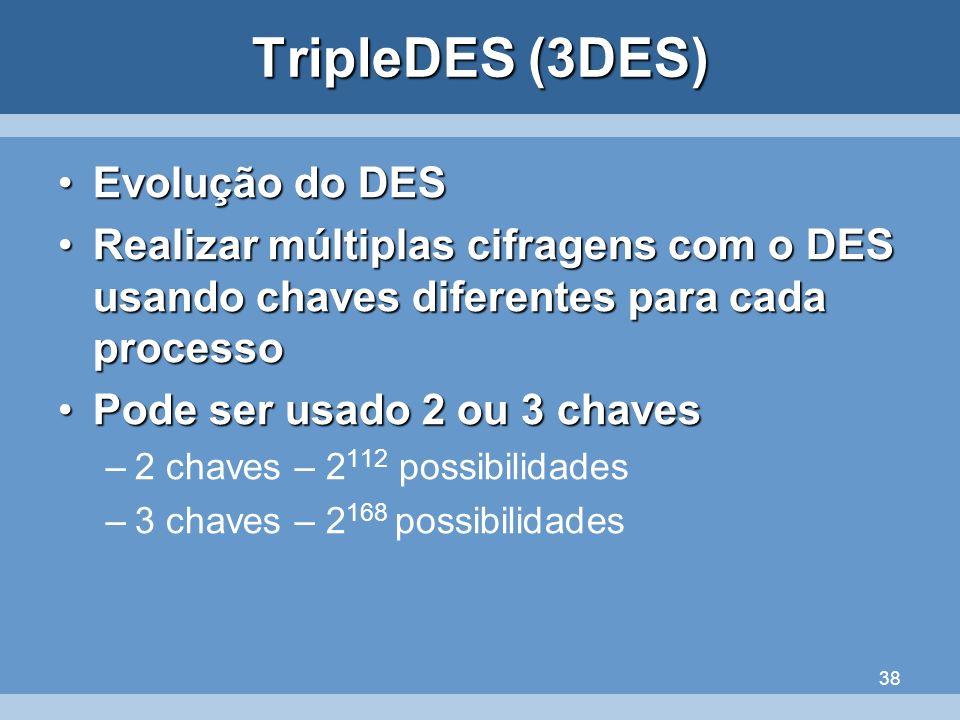 38 TripleDES (3DES) Evolução do DESEvolução do DES Realizar múltiplas cifragens com o DES usando chaves diferentes para cada processoRealizar múltipla