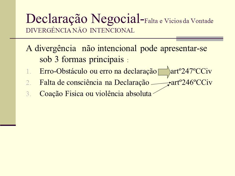 Declaração Negocial- Falta e Vicios da Vontade DIVERGÊNCIA INTENCIONAL SIMULAÇÃO Simulação (art.