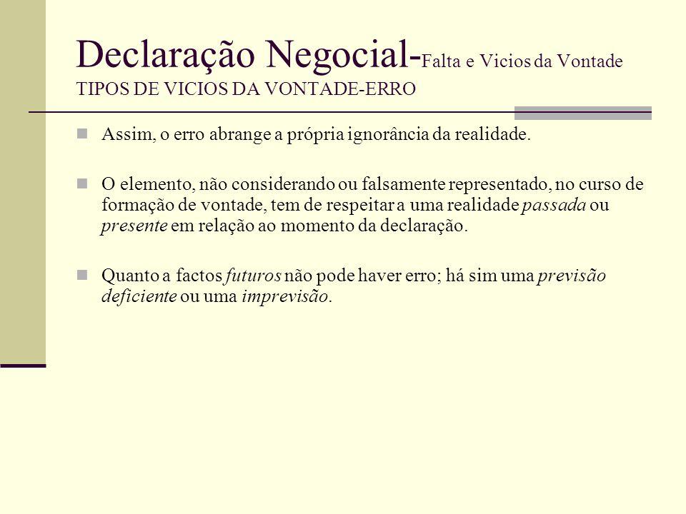 Declaração Negocial- Falta e Vicios da Vontade TIPOS DE VICIOS DA VONTADE-ERRO O erro (enquanto vício) pode revestir várias modalidades, segundo o Código Civil.