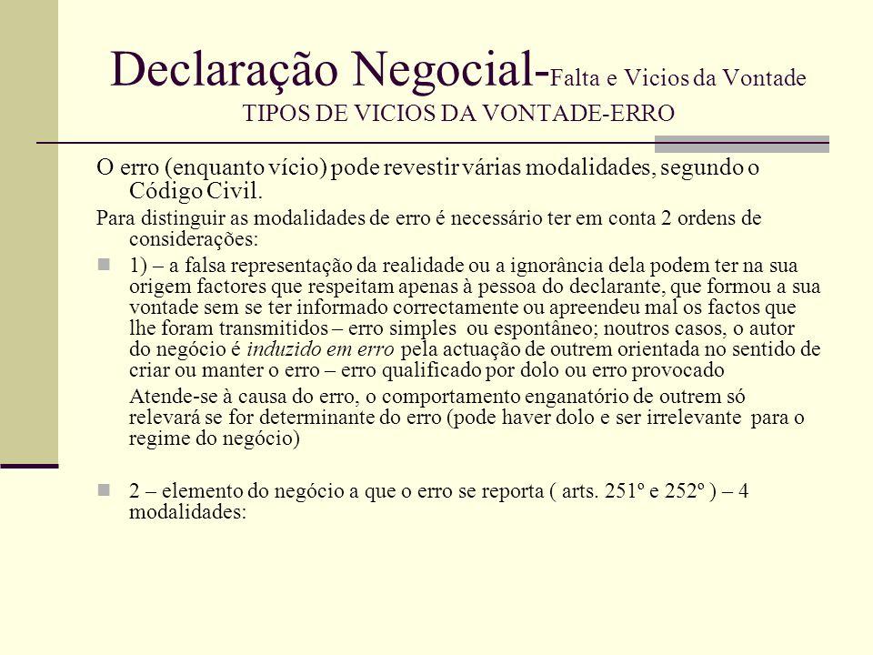 Declaração Negocial- Falta e Vicios da Vontade TIPOS DE VICIOS DA VONTADE-ERRO 1.