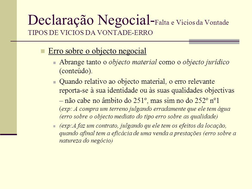 Declaração Negocial- Falta e Vicios da Vontade TIPOS DE VICIOS DA VONTADE-ERRO Por disposição expressa do art.