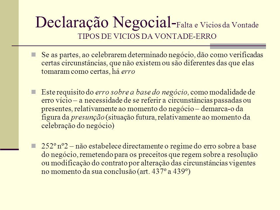 Declaração Negocial- Falta e Vicios da Vontade TIPOS DE VICIOS DA VONTADE-ERRO Da remissão contida no art.