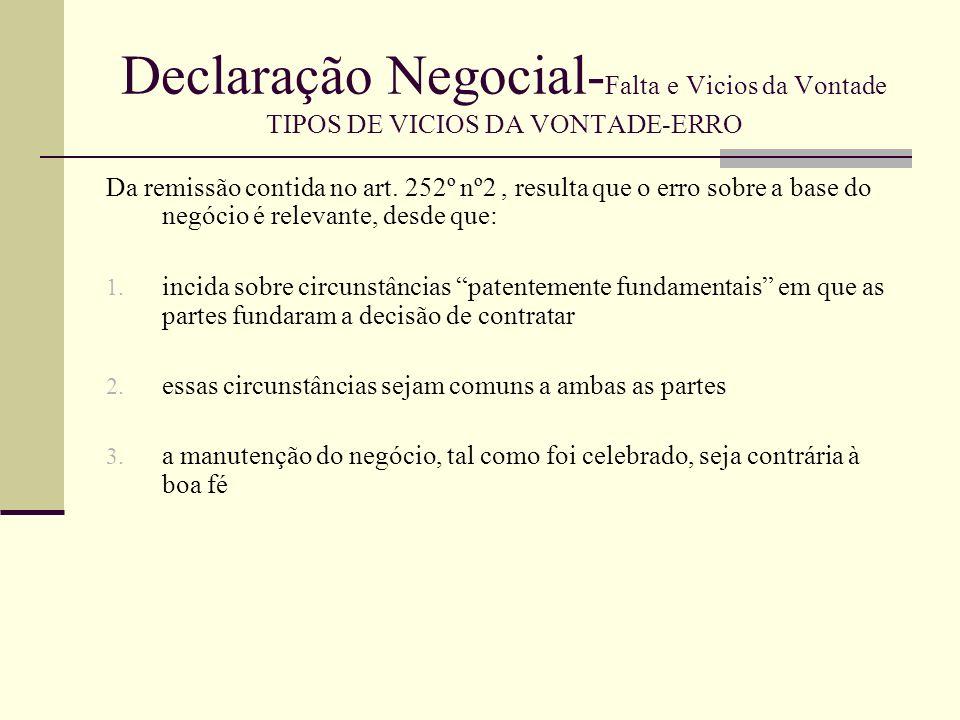 Declaração Negocial- Falta e Vicios da Vontade TIPOS DE VICIOS DA VONTADE-ERRO Sendo o erro sobre a base do negócio relevante, qual o valor do negócio.