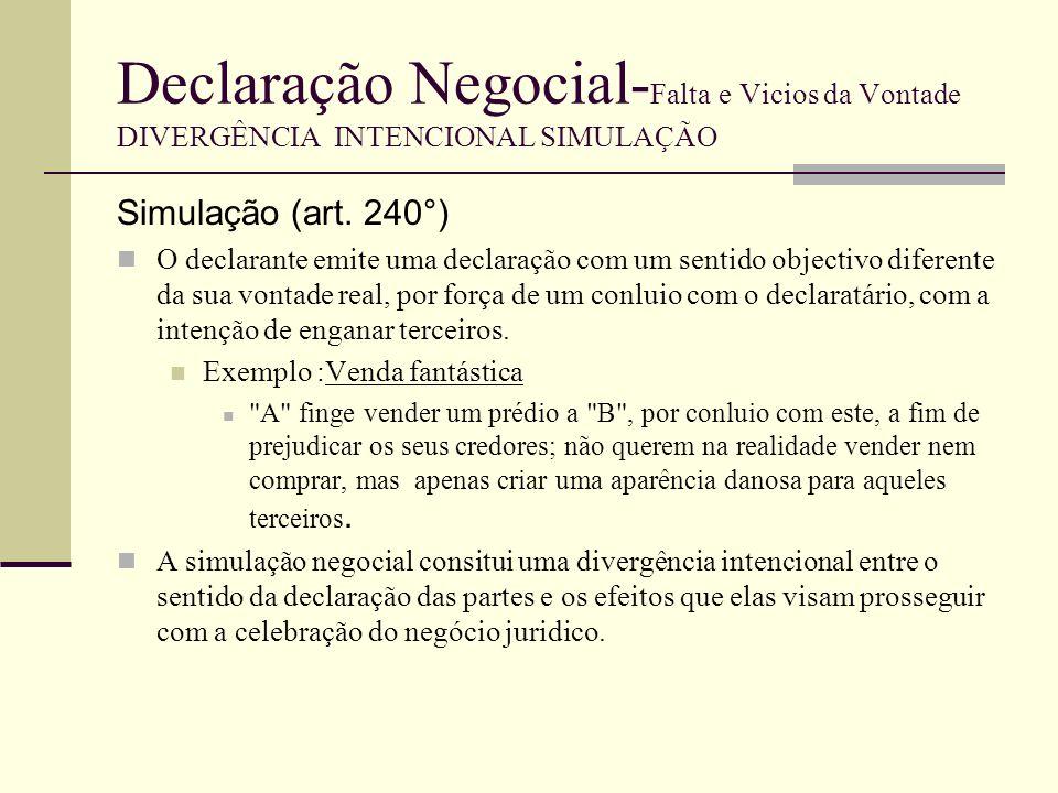 Declaração Negocial- Falta e Vicios da Vontade DIVERGÊNCIA INTENCIONAL SIMULAÇÃO Noção de Simulação É criar uma falsa aparência.