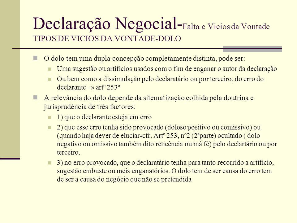 Declaração Negocial- Falta e Vicios da Vontade TIPOS DE VICIOS DA VONTADE-DOLO A noção de dolo contida no art.