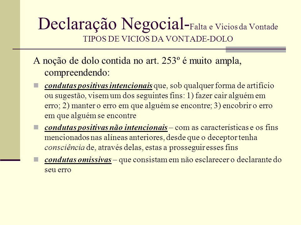 Declaração Negocial- Falta e Vicios da Vontade TIPOS DE VICIOS DA VONTADE-DOLO MODALIDADES DE DOLO DOLO POSITIVO E DOLO NEGATIVO DOLUS BONUS E DOLUS MALUS DOLO INOCNETE E DOLO FRAUDULENTO DOLO PROVENENTE DO DELCARATÁRIO E DOLO PROVENIENTE DE TERCEIRO DOLO ESSENCIAL OU DOLO DETERMINANTE