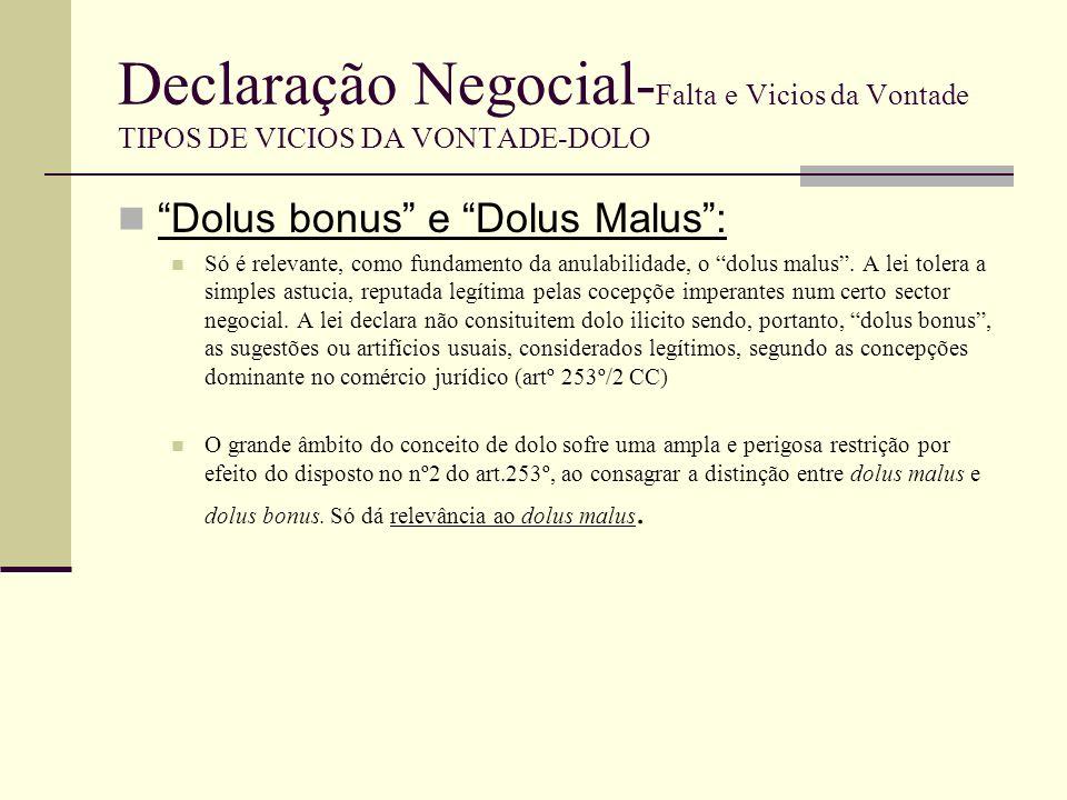 Declaração Negocial- Falta e Vicios da Vontade TIPOS DE VICIOS DA VONTADE-DOLO Há dolus bonus ou dolo irrelevante quando o deceptor recorre a artifícios ou sugestões usuais, consideradas legais, segundo as concepções dominantes no comércio jurídico.