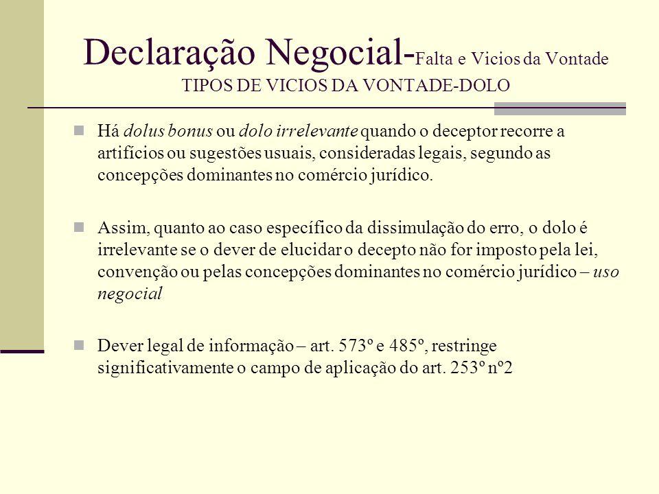 Declaração Negocial- Falta e Vicios da Vontade TIPOS DE VICIOS DA VONTADE-DOLO Relevância do dolo O requisito específico da relevância do dolo é a dupla causalidade.