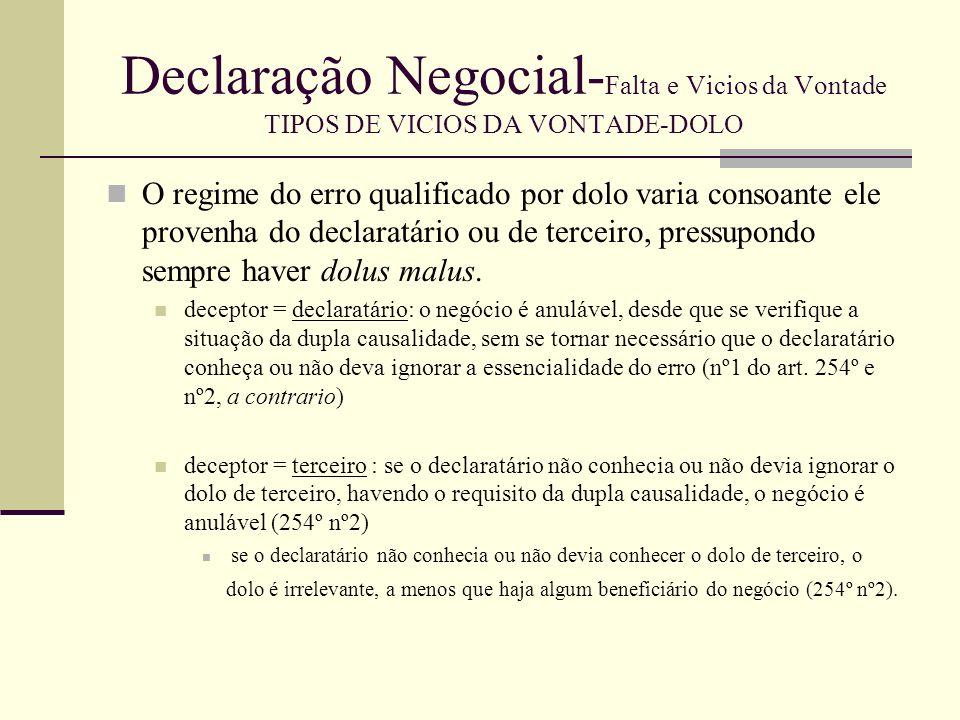 Declaração Negocial- Falta e Vicios da Vontade TIPOS DE VICIOS DA VONTADE-DOLO Se o beneficiário é o terceiro autor do dolo, o negócio é anulável em relação a ele, verificado o requisito da dupla causalidade.