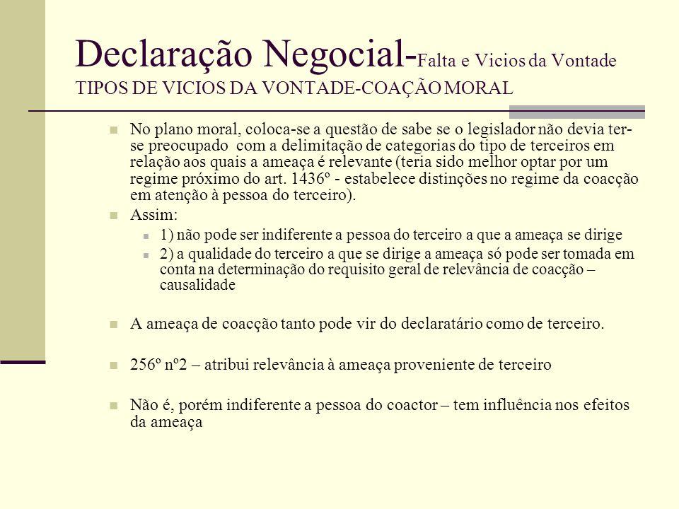 Declaração Negocial- Falta e Vicios da Vontade TIPOS DE VICIOS DA VONTADE-COAÇÃO MORAL Ilicitude da ameaça – segundo requisito da coacção moral A exigência deste requisito vem duplamente estatuída na lei: 255º nº1 ( exige que o coagido haja sido ilicitamente ameaçado) e 255º nº3 ( não constitui coacção o exercício normal de um direito) Ao excluir a coacção em caso de exercício normal do direito, revela que constitui coacção a ameaça do exercício anormal do direito – abuso do direito (334º).