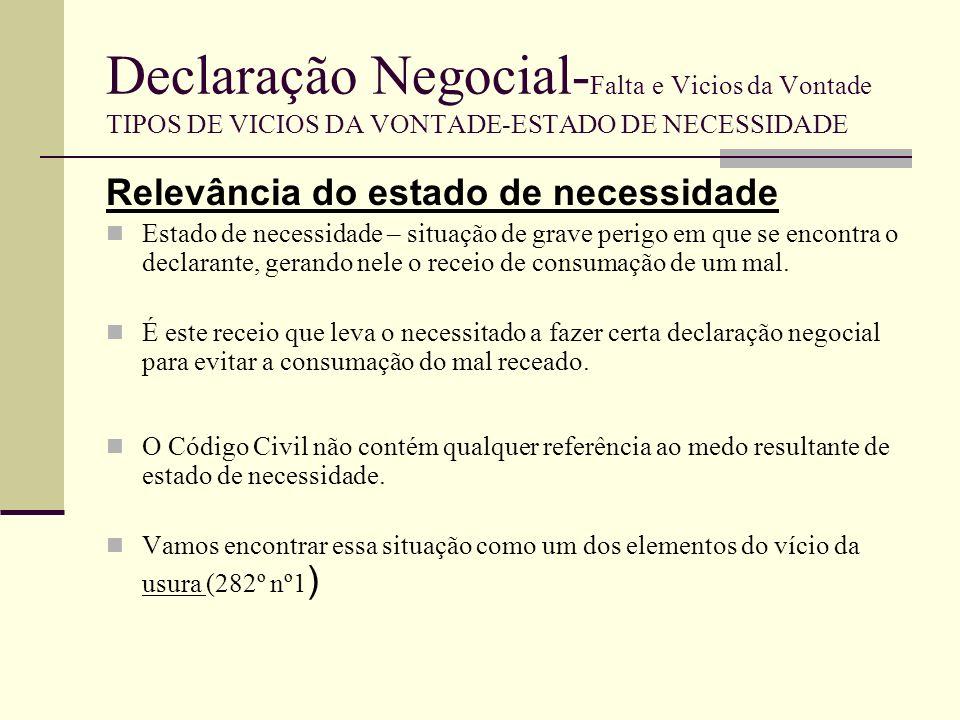 Declaração Negocial- Falta e Vicios da Vontade TIPOS DE VICIOS DA VONTADE-USURA Noção 282º a 284º - constituem uma inovação no Dto.