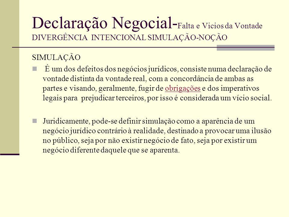 Declaração Negocial- Falta e Vicios da Vontade DIVERGÊNCIA INTENCIONAL SIMULAÇÃO-NOÇÃO A simulação tem o seu campo de actuação por excelência no contrato, negócio bilateral Pode haver, também, simulação no testamento, negócio unilateral não recipiendo, (2200º), já que o legislador não exclui esta possibilidade no art.