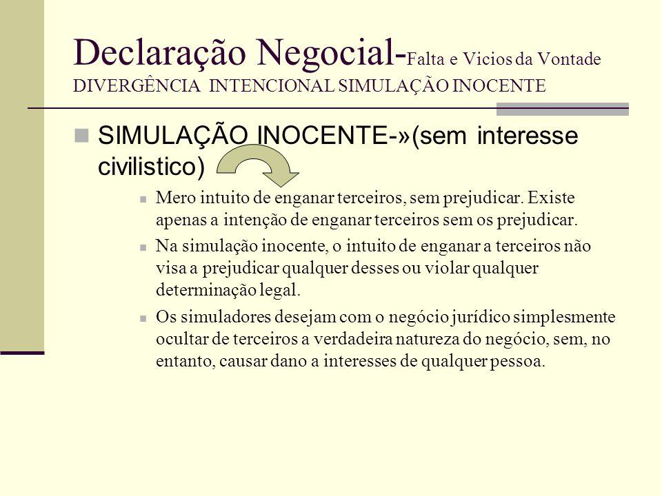 Jurisprudência exemplificativa Ac TRL Procª 6092/05.9TBOER-8 de 7-5-2009 Sumário: I-Para que se verifique a nulidade do negócio simulado é necessário que exista: a) acordo simulatório («pactum simulationis» ou, na terminologia legal, «acordo entre declarante e declaratário»); b) «intuito de enganar terceiros» («animus decipiendi», gerador da chamada «simulação inocente», ao qual acresce ou se cumula, por vezes, a forma agravada da simulação fraudulenta ou simulação com «animus nocendi») e c) «divergência entre a declaração negocial e a vontade real do declarante» (ou, na referência de PINTO, Mota, Teoria Geral do Direito Civil, Coimbra, 1976, pág.