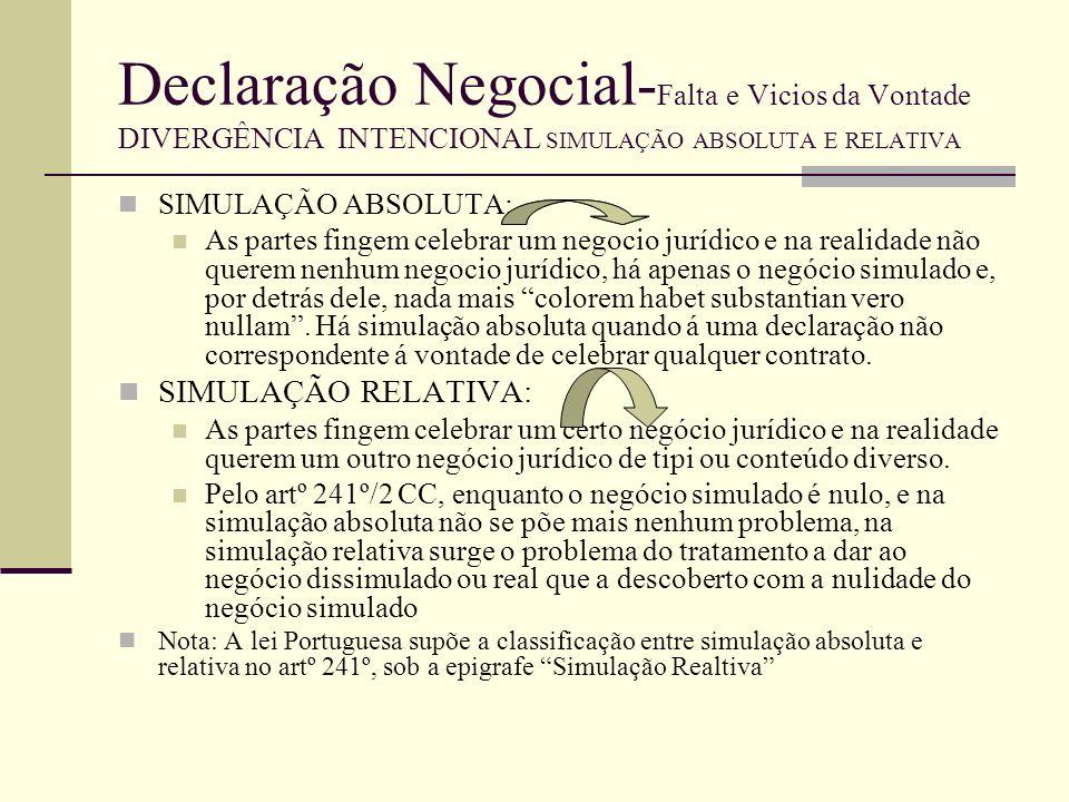 Declaração Negocial- Falta e Vicios da Vontade DIVERGÊNCIA INTENCIONAL SIMULAÇÃO ABSOLUTA E RELATIVA Simulação absoluta e simulação relativa Distinção é feita atendendo ao tipo de divergência verificada.